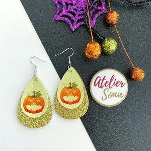 Sparkly Pumpkin Tear Drop Earrings - Gold